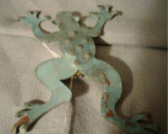 Large copper frog brooch