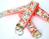 Coral Key Fob Wristlet, Shower Favor, Floral Key Chain, Rifle Fabric Keychain Wristlet, Fabric Key Holder, Sorority Gift, Pink Key Lanyard