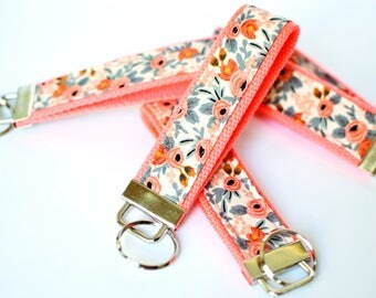 Coral Key Fob Wristlet, Shower Favor, Floral Key Chain, Rifle Fabric Keychain Wristlet, Fabric Key Holder, Sorority Gift, Pink Key Lanyard