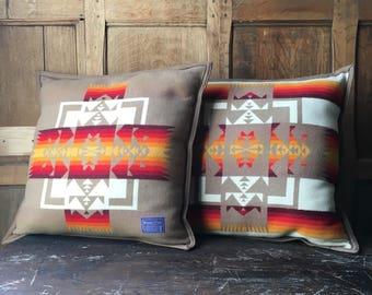 Original Vintage Beaver State Pillows, Chief Joseph Pattern Pendleton Pillows, Southwestern Pillow