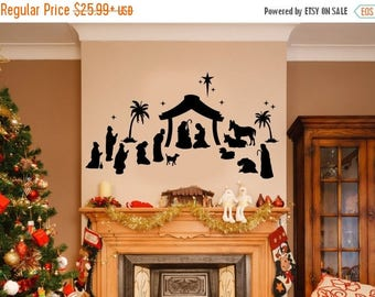 CLEARANCE SALE Christmas Decor - Nativity Set - Nativity Wall Decal - Black - Christmas Decorations - Nativity - Holiday Decor - Christmas W