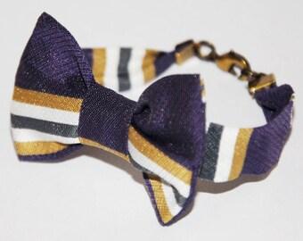 Purple/khaki/white 74 pattern stripe knot bracelet