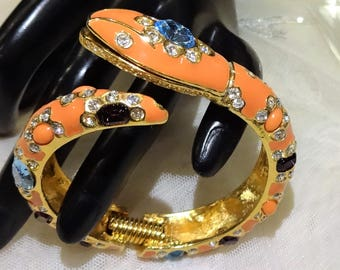 Vintage KJL (Kenneth J Lane) Multi Coloured Rhinestones, Coral Cabochon and Enamel Rhinstone Snake Head Bangle