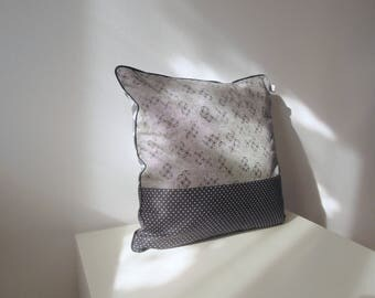 "Cushion cover "" Japanese graphic, diamonds, peas and black piping """