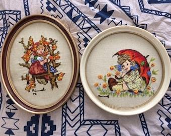 Vintage Framed Hummel Crewel Needlepoint Embroidery Set 2