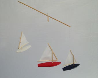 Red White and Blue USA Sailboat Mobile