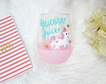 Unicorn wine glass, unicorn juice, unicorn gift, glitter stemless wine glass, unicorn glass, unicorn quote, unicorns are real, unicorn magic