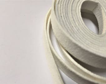 "SALE: 10mm Flat Cord, Per 14"" White Suede"