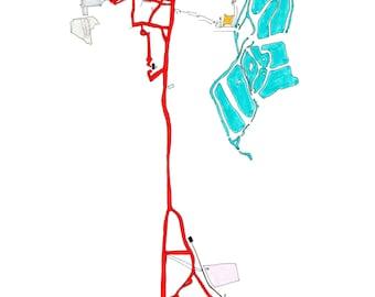 Handdrawn Cycling Map Greeting Card- Walthamstow Reservoirs - Experimental Digital London
