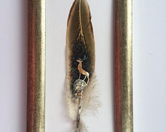 Painted feather. Highland Stag hand painted  feather. Framed
