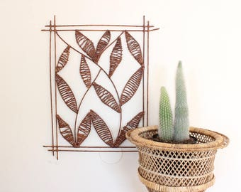 SALE Vintage Wall Hanging Leaf Art Boho Art Jute Woven Wall Hanging Rattan Boho Home Decor