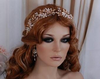 Champagne Gold Bridal Vine Headpiece Hair Wreath Head Band Piece Accessory Weddings Headband Bride Wedding Floral Party Wreaths Accessories