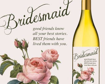 Bridesmaid Vintage Roses Custom Wine Labels
