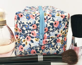 Blue and Pink Floral Makeup Bag, Floral Cosmetic Bag, Bridesmaid Gift, Gift For Her, Gift Under 20, Monogram Bag, Rifle Paper Co