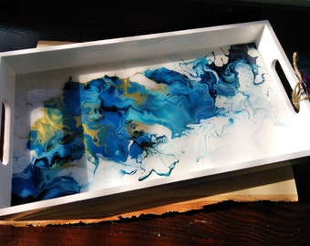 Blue and gold abstract decorative serving tray
