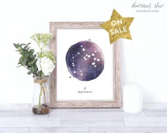 sagittarius print - watercolor constellation art print - sagittarius gift idea with color options - 8x10