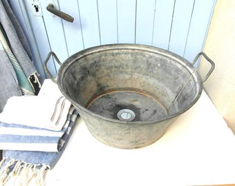 galvanized wash tub with evacuation upcycled sink wash basin