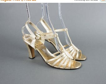 20% OFF SALE Vintage 1960s Shoes | 60s Metallic Gold Lurex T-Strap Strappy Open Toe High Heels Evening Sandals (womens 7.5)