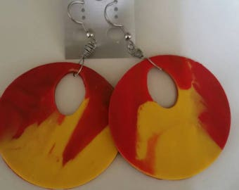 Red and Yellow Pierce Earrings