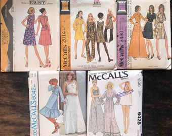 SALE LOT of Five 1970s McCall's Sewing Patterns