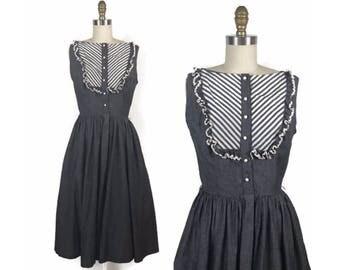 1950s Chambray Day Dress / 50s Striped Ruffle Shirt Dress Full Skirt / Vintage Small Dress