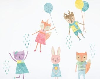 Party Animal Wall Decals - Watercolor Animal Fabric Wall Decals