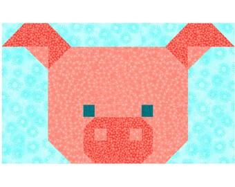 Pig Quilt Block Pattern, PDF, Instant Download, modern patchwork, piggy, animal, cute, farm, rural,