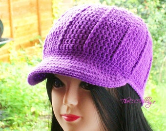 Purple Crochet Womens Hats, Handmade Teen Hat, woman Cap, Crochet Beanie