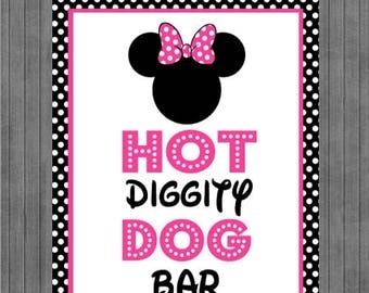 FLASH SALE Minnie Mouse Birthday Sign, Hot Dog Bar, Black, Pink
