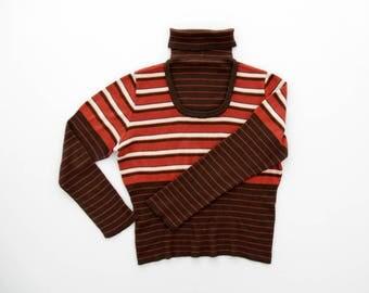 Vintage Sweater // 1970s Striped Turtleneck Top // Brown Orange White Stripes // Layered Sweater