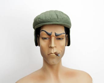 Vintage mens flat cap // Quilted army green newsboy mens hat with ear covers