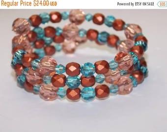 20%OFF Peach Copper Czech Glass Blue Crystal Wrap Bracelet