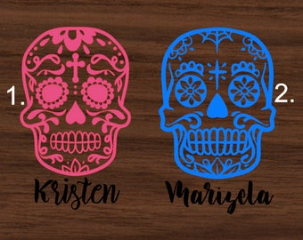 Sugar Skulls with name Decal | Sugar Skulls Yeti Decal | Personalized RTIC Decal | Sugar Skull Car Decal | Customized Decal