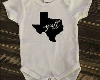 Texas Y'all Onesie, creeper, bodysuit | unisex | personalized gift | Texas baby | Hey, y'all