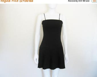 ON SALE 90s BLACK Pleated Drop Waist Dress