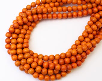 6mm Orange Dyed Wood Beads 16 inch Strand, 75 Beads for Mala Necklaces Mala Beads