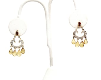 Faceted Citrine Briolettes  Yellow Gold Earrings Diamond