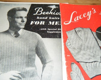 VINTAGE  BEEHIVE and LACEY'S hand knits for men.  Great knitting patterns for men..socks, sweaters, scarfs, and more.  not sure of year..