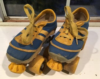 Vintage Pair of Kids Tennis Shoe/Sneaker Roller Skates from the 1970s