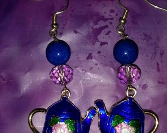 Teapot Cloisonne Earrings