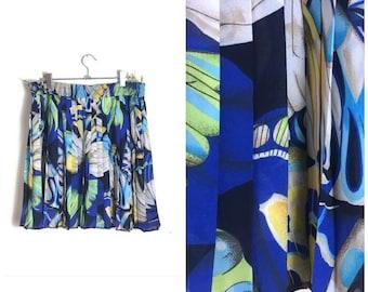 90s pleated mini skirt / blue patterened pleated skirt / elastic waist short skirt / boho skirt / retro summer skirt / retro tennis skirt /
