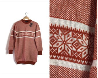 Mens 70s snowflake sweater / burnt orange and cream jumper / orginal 1970s mens sweater with ski patterns / still with orgianl label / retro