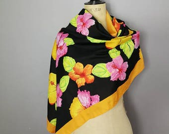 Tropical floral scarf wrap / 90s floaty scarf / kimono scarf wrap / black with bright flowers / long sheer scarf / retro scarves