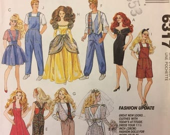 Uncut Vintage Barbie and Ken clothes sewing pattern - 1993