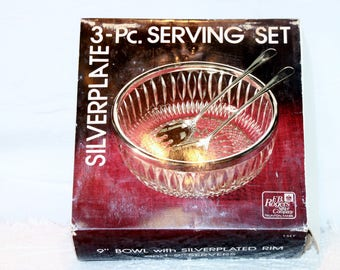 Vintage New Old Stock 3 Piece Serving Set Silver Plated