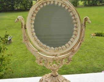 Ornate Cast Iron Cream Swivel Mirror