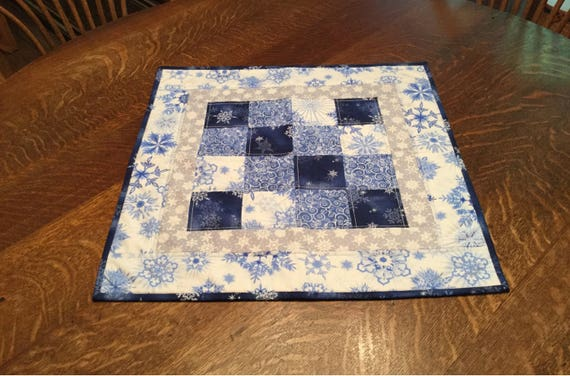 Quilted Table topper, table topper, quilted snowflake table topper, snowflake  table topper, quilted candle mat, snowflake candle mat