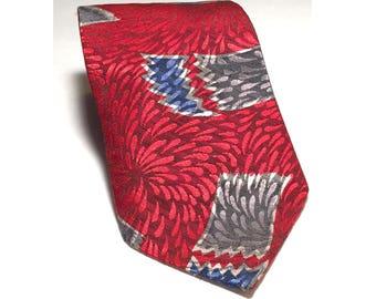 "Wembley Wide Tie, Patriotic, Red, White & Blue Vintage Necktie, Fireworks, Long Tie, 3.75"" x 64"", 4th of July, Independence Day Tie, 1970s"