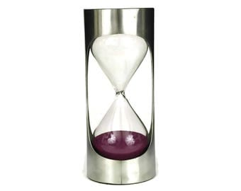Sand Hourglass Timer in Metal Stand. 3 Minute Metal Timer. Vintage Magenta Sand Egg Timer. Remy Letang Design. Hourglass Collection.