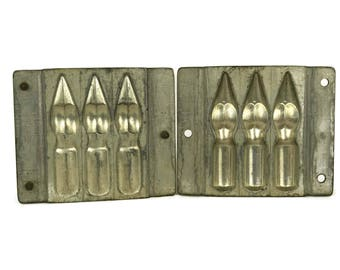 Antique Anton Reiche Two Parts Chocolate Mold. Easter Candy Mould with Fountain Pens Nibs. Platinol Moulds. Rustic Kitchen Decor.